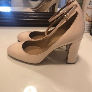 Baby pink patent pumps